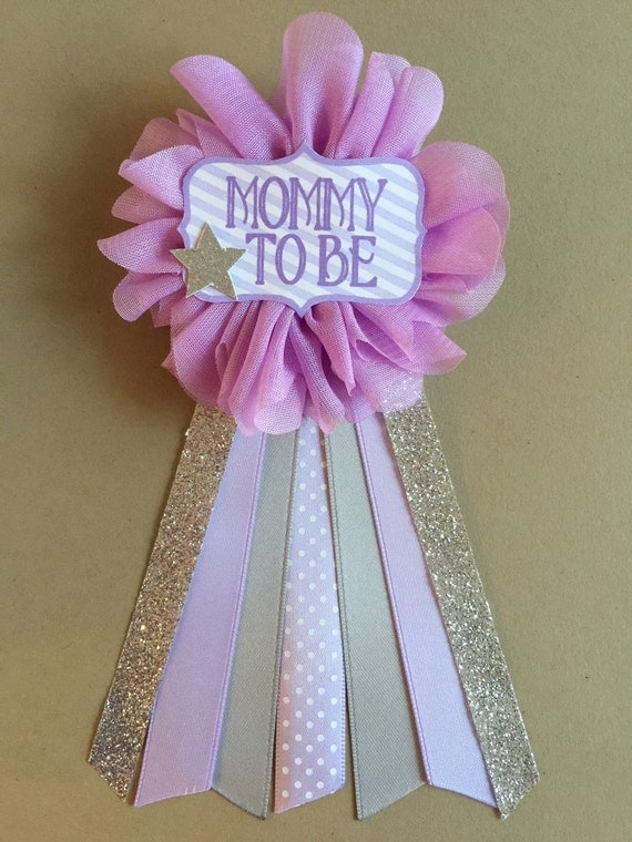 silver star baby shower pin mommy to be pin corsage flower ribbon pin