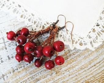 Earrings, Red berry earrings, Beaded earrings, Boho earrings, Big Cluster earrings, dangle earrings, gift for her, Summer jewelry