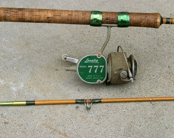 Antique Vintage Rare MAINE Coast 2-Piece Set Actionglass Spinning FISHING Rod with Original Langley Reel, Very Clean