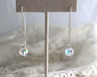 Swarovski Crystal AB Threader Earrings - STERLING SILVER Ear Wires - Ready to Ship & Made in Usa - Birthday, Wedding, Anniversary Gift