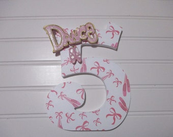 "BALLERINA DANCE - NUMBERS, numerals - 18.00 per number, 8-1/2"", perfect birthday party decorations and monthly or yearly birthday pictures"