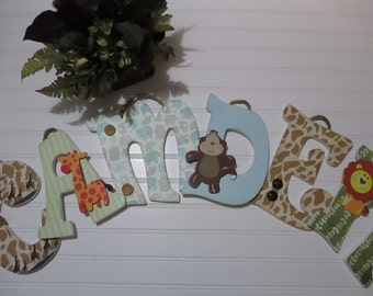 "CAMDEN - 12.00 PER LETTER boy's name, 9"" wood letters, wooden nursery name, safari theme, elephants theme, blue and white nursery"