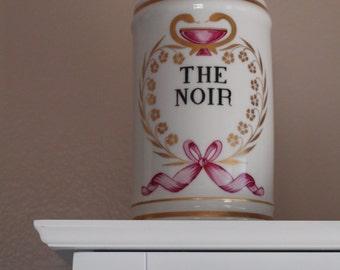 French apothecary jar  Asclepius snake symbol The Noir / Black Tea  vintage storage kitchen bathroom storage French porcelain toiletries