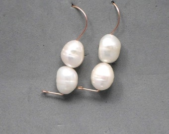 Pearl Earrings, White, Dangle, Double Pearls,Gold Filled, Bridal,Wedding, Under 50