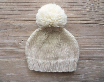 Pom-Pom Beanie Hat in 20 Different Colors///You Choose the Size & Colors///100% Peruvian Highland Wool///MADE TO ORDER
