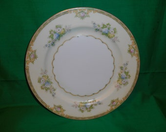 "One (1), 10"", Hand Painted, Dinner Plate, from Meito China, in the Calais Pattern."