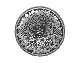 2 Midsummer 13/16 inch ( 20 mm ) Metal Buttons Silver Color