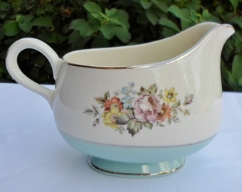 Vintage Gravy Boat Danube Cunningham & Pickett, Aqua Band, Floral Center, Made In USA, Shabby Chic, Cottage Chic