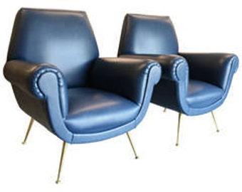 Pair Mid Century Modern Italian Armchairs by Gigi Radice
