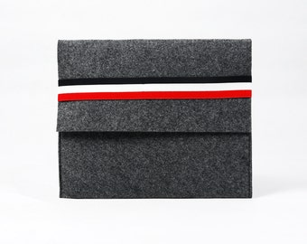 Felt iPad 1 2 3 4 Sleeve Case Bag iPad Air Holder Cover iPad Pouch with Horizontal Elastic Strap  E544