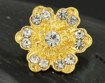 Gold Tone Buttons with Clear Rhinestone Flower Sewing Buttons.  For crafts and jewelry.