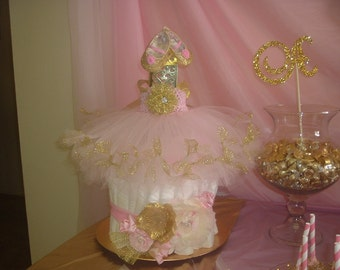 Custom made (in your colors) 5-in-1 Baby Shower Diaper Cake