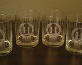 """Mid Century Monogram 'H"""" Etched Old Fashioned Cocktail Glasses Personally Yours 1989 Christmas From Avon Set Of Two"""