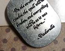 Cinderella Charm Pendant Stroke of Midnight Double Sided Quote Charm Antiqued Silver Fairy Tale Charm Pendant