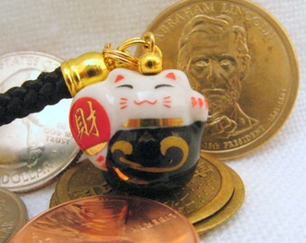 Lucky Beckoning Fortune Cat Porcelain Handbag/Cellphone Charm with Black Braided Strap/Lanyard and Bell. Black with Fan