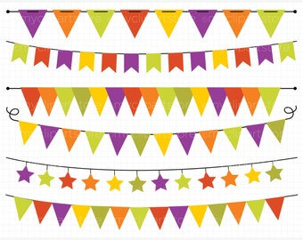 Bunting - Halloween Bunting Banner Flags Clip Art / Digital Clipart - Instant Download