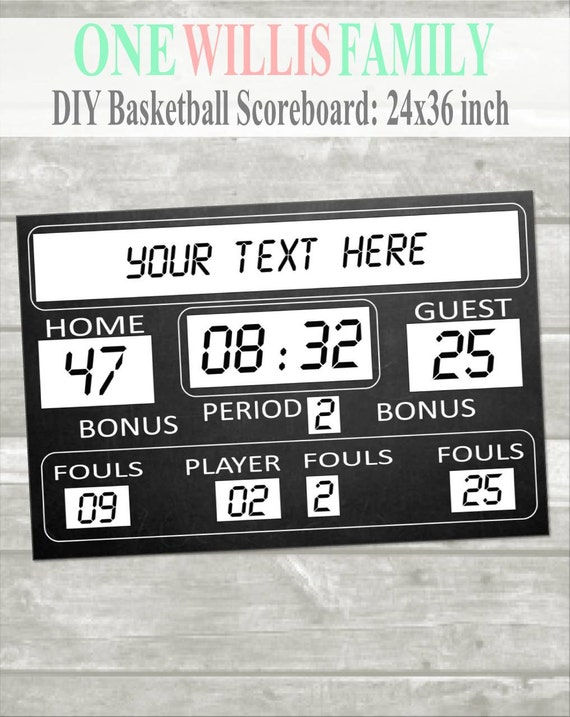 DIY Basketball Birthday Printable Scoreboard 36x24