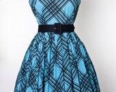 Vintage Aqua plaid pleated day dress - madmen pinup VLV rockabilly mod cotton Large