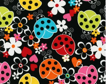Lovely Ladybugs - Colorful Flowers and Ladybugs - Cotton Fabric