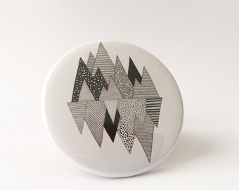Lost in Mountains Pocket Mirror / Mountain illustration / round compact mirror / Perfect gift for mountain lovers / graphic illustration