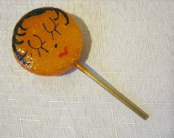Vintage Lollipop Brooch With Hand Painted Flapper Girl Face Very Cute