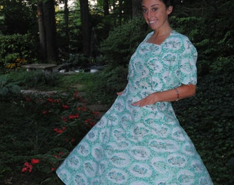 1950 Vintage Cotton Sundress with Jacket and Pockets Green and White Novelty Print Small