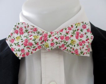 Diamond point men's bowtie - Pink and Yellow Floral  - wedding - neoud