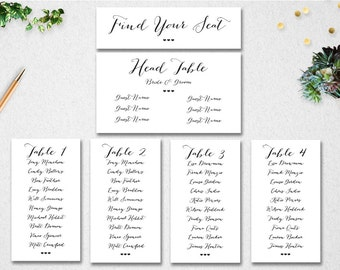 Wedding Seating Chart Template INSTANT DOWNLOAD // Editable // Printable // Find Your Seat // Table Seating // PDF