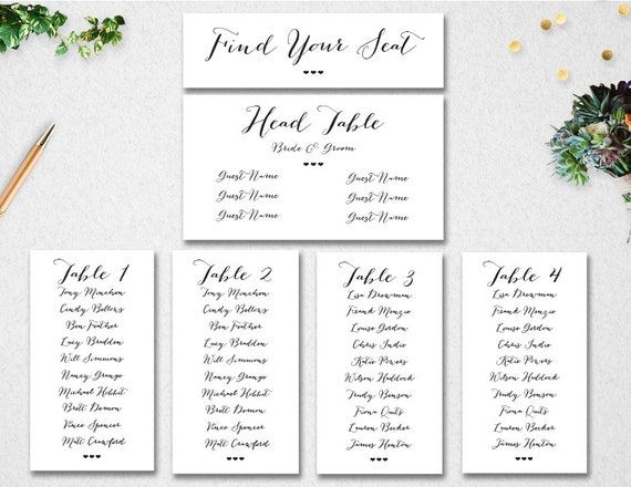 Wedding Seating Chart Template INSTANT DOWNLOAD Editable – Wedding Seating Chart Template Free Printable