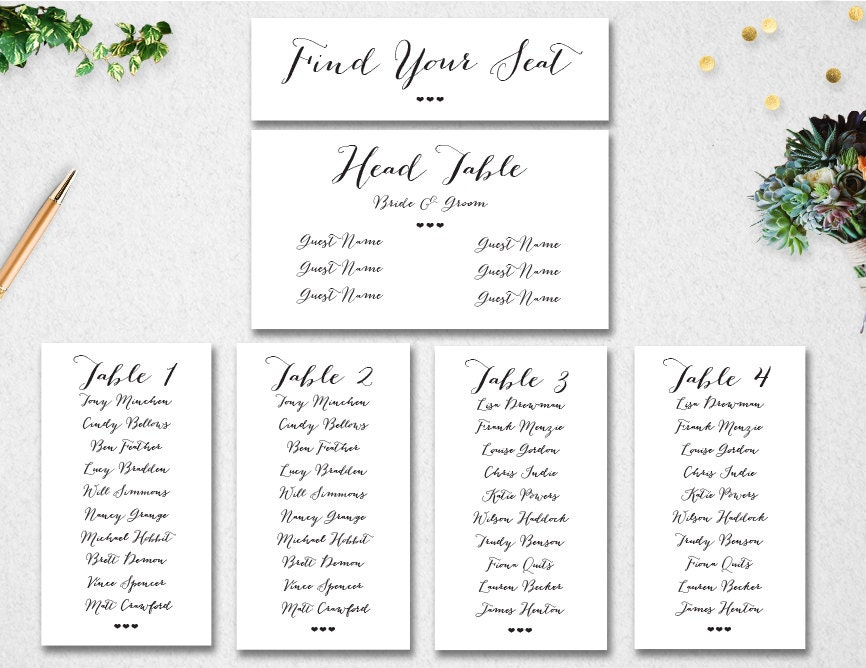 Find your seat – Guest Seating Chart Template