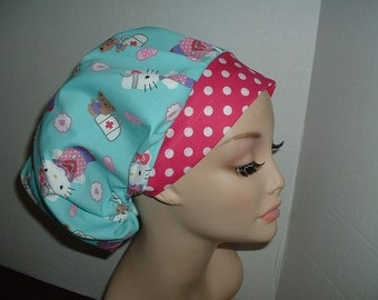 Hello Kitty Dr Nurse Bouffant OR Surgical Scrub Hat CRNA Lab
