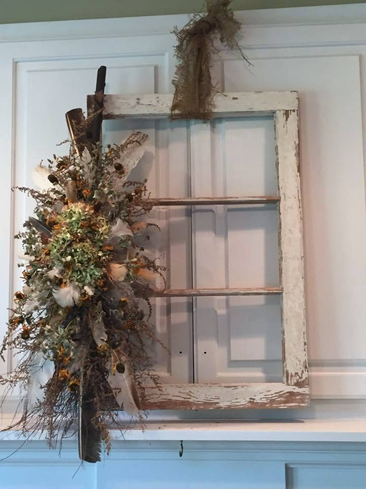 Window Frame Wall Decor old window frame salvage / farmhouse style window / white