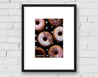 Food Art, Donuts and Polka Dots: 5x7 Matted Photo