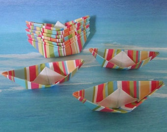 10 paper boat origami sail boats summer beach party birthday cake topper striped multicolor