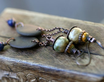 Rustic Tribal Primitive ' Leave the River ' river stone earrings n45 - natural . earthy . organic earth . elongate . chain . artisan ceramic