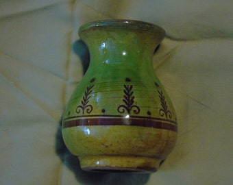 Small red ware  yellow and green bud vase