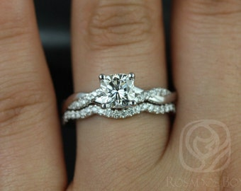 Tressa 6mm 14kt White Gold Cushion F1- Moissanite and Diamonds Twist Wedding Set(Other Metals and Stone Options Available)
