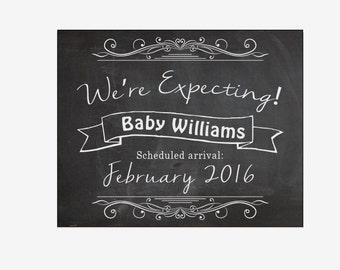 Chalkboard Pregnancy Announcement PRINTABLE new baby announcement sign