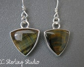 Green gold variegated tiger eye and sterling silver dangle earrings - metalsmith
