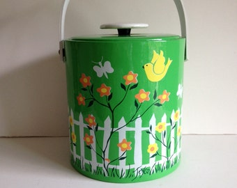 Vintage lime green ive bucket 1970s colorful mod orange abd yellow bird ice bucket