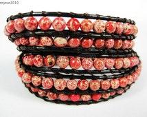 Handmade Sediment Jasper Red 4mm Round Beads Dark Brown String Dark Brown Leather Wrap Bracelet Silver Plated Button Closure