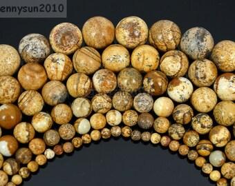 Natural Picture Jasper Gemstone Round Beads 16'' Inches 2mm 3mm 4mm 6mm 8mm 10mm 12mm 14mm 16mm Strand Great For Jewelry Design