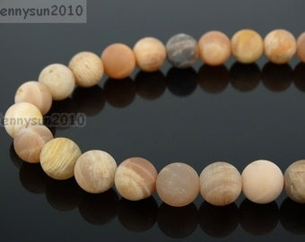 Natural Matte Sunstone Frosted Gemstones 4mm 6mm 8mm 10mm 12mm Round Loose Spacer Beads 15'' Strand Jewelry Design