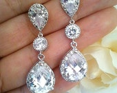 Clear Wedding Earrings, Rose Gold Bridal Jewelry, Gold, White Gold Earrings Necklace Wedding Jewelry Teardrop Dangle Pendant  Bridal Gift