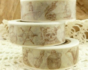 Antiqued Look Pirate Washi Tape - EE1752