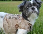 U.S.Marine Desert Camo Dog Harness with Name/Service Tab - Size XS, S, M, L, XL