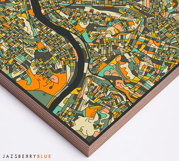 Home Decor Pittsburgh: PITTSBURGH MAP Modern Wall Art For The Home Decor Ready To