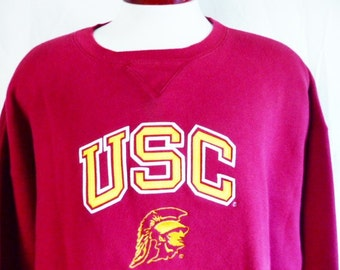 Go Trojans vintage 90's USC University of Southern California cardinal wine red fleece graphic sweatshirt embroidered applique gold logo XXL