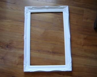 White frame wedding frame home decor wall decor large open frame ornate regency frame 22x15 inch French Country