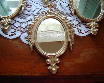 Gold mirror metal mirror made in Italy small wall mirror ornate mirror rosebud mirror Christmas tree decor